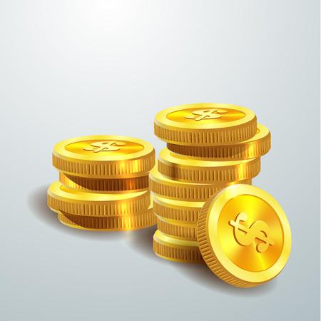 Vector Illustration of golden coins. Money isolated on white. Illustration