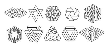 Collection de symboles de géométrie sacrée. hipster, abstrait, alchimie, ensemble d'éléments mystiques spirituels Vecteurs
