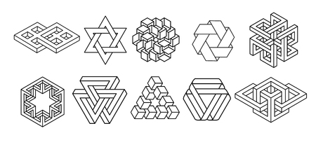 Collezione di simboli di geometria sacra. hipster, astratto, alchimia, insieme di elementi mistici spirituali