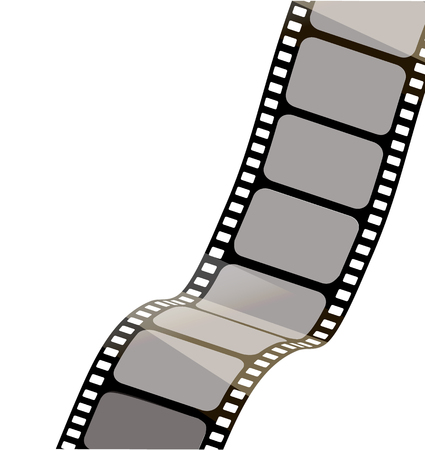 Isolated film with white background, 3D rendering. 3d film strip vector