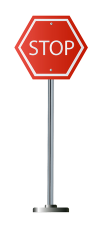 Red Stop Sign, Isolated Traffic Regulatory Warning Signage Octagon.