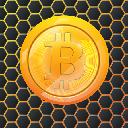 Bitcoin gold coin crypto currency hexagonal background. Block sticker for bitocones for web pages, design or printing. Logo bitcoins . Illustration