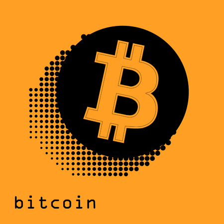 Bitcoin gold coin of crypto currency isolated on white background. Block sticker for bitocones for web pages or printing. Logo bitcoins
