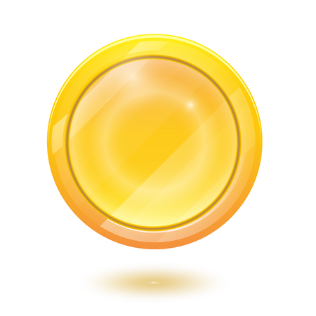 3d realistic gold coin icon. Vector illustration isolated on white background