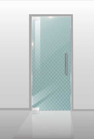 Modern glass doors. Transparent concepts for architectural projects. Vector Graphics illustration.
