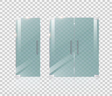 Glass door isolated on a transparent background. Vector illustration.Concepts for architectural projects and building drawings.