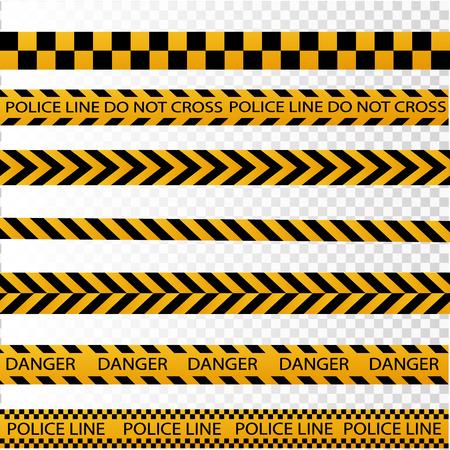 Frontière de bande de police noir et jaune, construction, danger attention bandes sans soudure vector illustration set