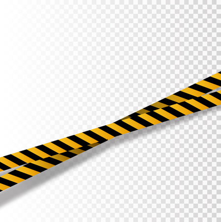 Vector flat style cartoon illustration isolated on background. Black and yellow stripes set. Warning tapes. Danger signs. Caution ,Barricade tape, Do not cross, police, scene barrier tape. Vektoros illusztráció