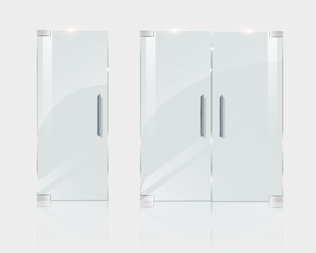 Glass doors, in a boutique office or shop. Vector illustration for architect projects. 일러스트