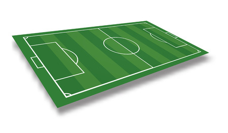 Soccer field or football field isolated on white background. Vector illustration.