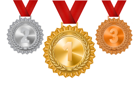 Set of gold, silver and bronze medals on a white background. Vector illustration.