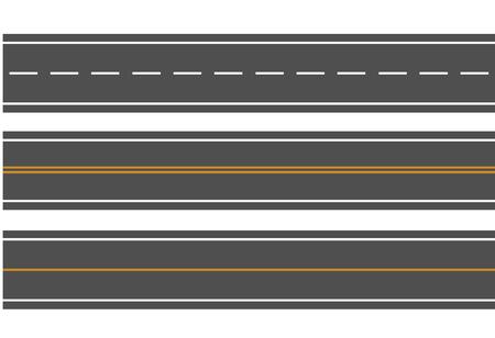 Template set of straight asphalt roads. Vector EPS 10