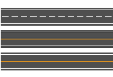 Template set of straight asphalt roads. Vector EPS 10