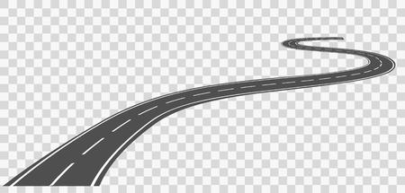 Gebogen weg met witte aftekeningen. Vector illustratie