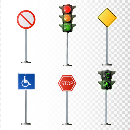 Set of road signs. Vector illustration isolated on a transparent background.