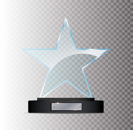 Glass plate. Glass Trophy Award. Vector illustration isolated on transparent background. Realistic 3D design. Realistic vector transparent object.