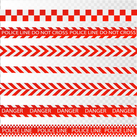 Caution lines isolated. Warning tapes. Danger signs. Vector illustration