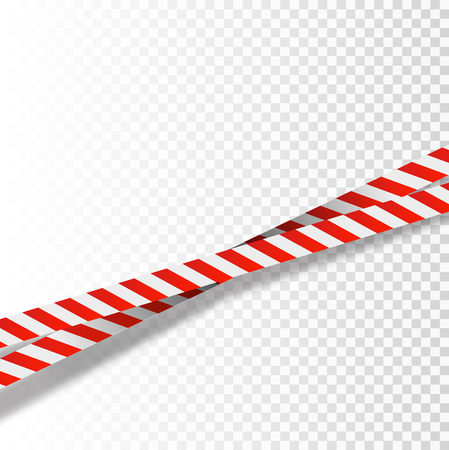 Red and white stripes set. Warning tapes. Danger signs. Caution ,Barricade tape, Do not cross, police, scene barrier tape. Vector flat style cartoon illustration isolated on background Standard-Bild - 101811636