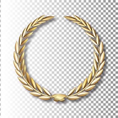 Corona de laurel de oro vector Corona de laurel con cinta dorada. EPS 10