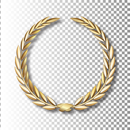 Couronne de Laurier d'or de vecteur. Couronne de Laurier avec ruban d'or. EPS 10
