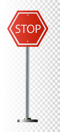 Red Stop Sign, Isolated Traffic Regulatory Warning Signage Octagon, White Octagonal Frame, Metallic Post,
