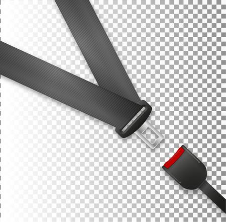 Sicherheitsgurtsymbol lokalisiert auf weißem Hintergrund. Bewegungssicherheit im Auto, Flugzeug. Realistisches Design der Vektorillustration. Schutz Fahrer und Passagiere. Schnallensymbol befestigt.