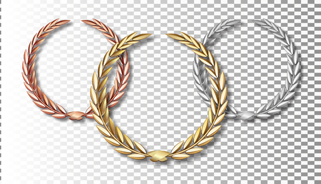 Award laurel set isolated on a transparent background. First, second and third place. Winner template. Symbol of victory and achievement. Gold laurel wreath. Realistic vector object isolated.
