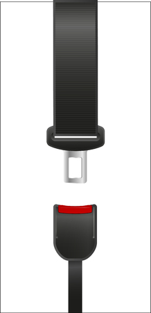 Seat Belt icon isolated on white background. Safety of movement on car, airplane. Vector illustration realistic design. Protection driver and passengers. Fastened buckle symbol. Çizim