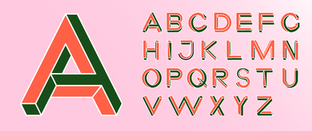 Impossible shape font. Memphis style letters. Colored letters in the style of the 80s. Set of vector letters constructed on the basis of the isometric view. Vector illustration 10 eps
