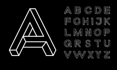 Impossible shape font. Memphis style letters. Colored letters in the style of the 80s. Set of vector letters constructed on the basis of the isometric view. Low poly 3d characters.