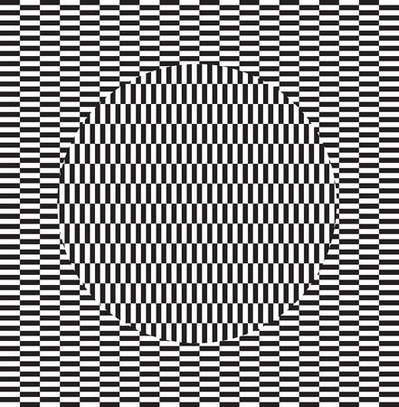 Optical illusion effect. Geometric tile in menfis pop art style. Vector illusive background, texture. Futuristic element, technologic design