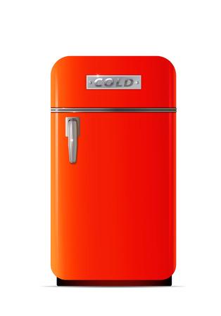 Retro fridge icon. Flat illustration of retro fridge vector icon for web design