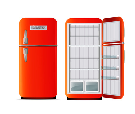 Full and empty fridge isolated on white photo-realistic vector illustration