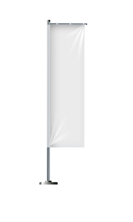 Flag mockup. Banner flag templates. Set of vector advertising flags. Black and white blank vertical flags. Realistic vector illustration. Illustration