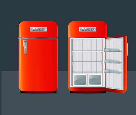 Retro fridge. Open refrigerator with full of fresh products in realistic style isolated vector illustration