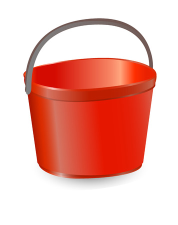 Vector illustration realistic red plastic bucket with a black handle and an inscription. Isolated white background. A bucketful for washing food, water and drink. Household chores pail.