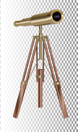 Old telescope on transparent Background. Concept of time. Vector illustration Illustration