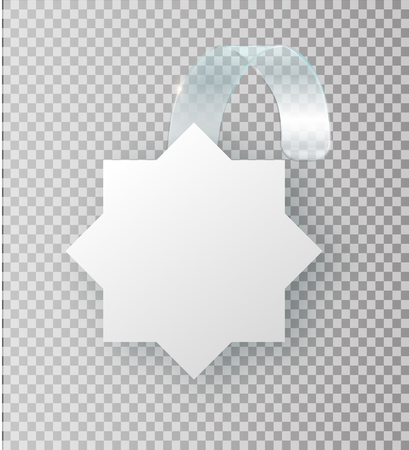 Blank white wobbler hang on wall mock up, 3d rendering. Space round paper mockup on plastic transparent strip. Clear price sticker star shape. Pricing tag label template isolated