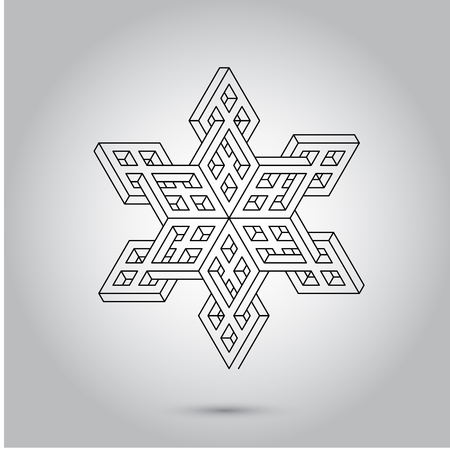 Impossible geometry symbols vector on grey background.Sacred geometry symbols and signes vector illustration. Hipster tattoo. Flower of life symbol. Illustration