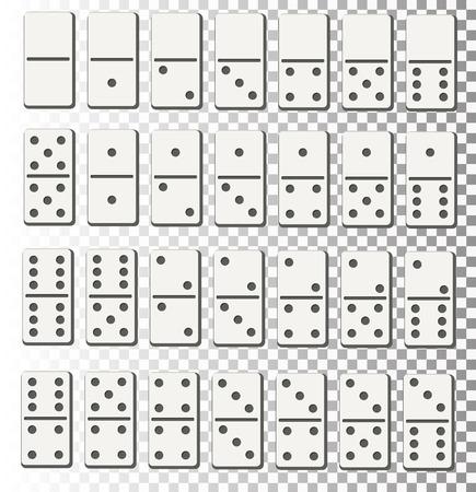 Creative vector illustration of realistic domino full set isolated on transparent background. Dominoes bones art design. Illustration