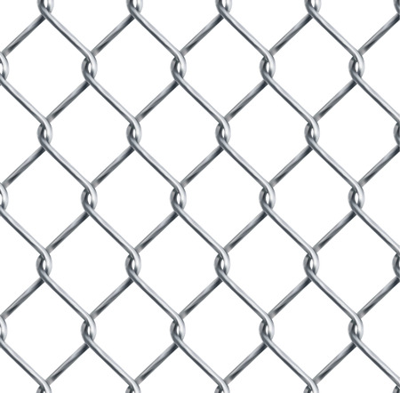 Realistic chain link , chain-link fencing texture isolated on transparency background, metal wire mesh fence design element vector illustration
