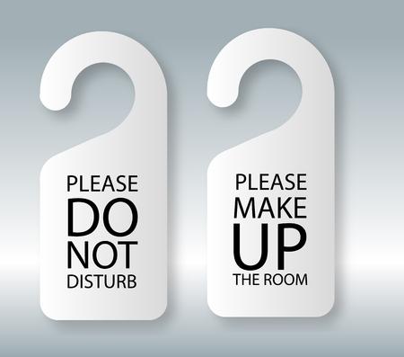 Do not disturb. Door hangervector do not disturb and make up the room please hotel hanger signs. Vector illustration EPS10