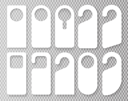 Vector Conjunto de colgadores de puerta únicos con estilo de línea de moda aislado sobre fondo transparente. Maqueta de colgador de puerta. Ilustración de vector EPS10