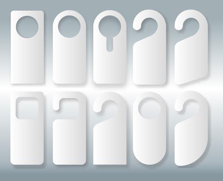 Vector Set of unique door hangers with trendy line style isolated on white background. Door hanger mockup. Vector illustration EPS10