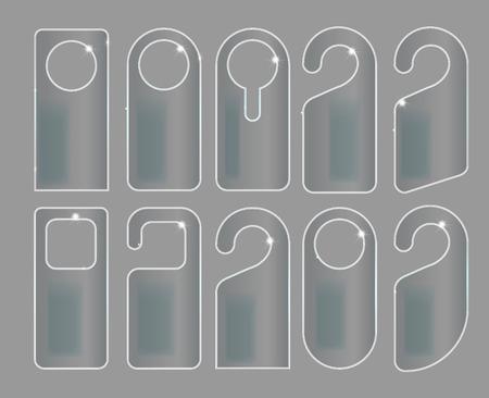 Vector Set of unique door hangers with trendy glass style isolated on grey background. Door hanger mockup. Vector illustration EPS10