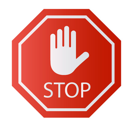Red Stop Sign isolated on white background. Traffic regulatory warning stop symbol. Vector illustration EPS10.