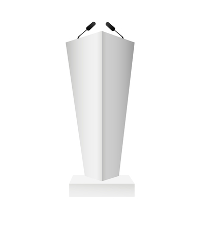 Vector White Podium Tribune Rostrum Stand with Microphones Isolated. Vector illustration EPS10
