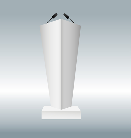 vector illustration of podium tribune with microphones isolated on transparent background. Art design rostrum stands. Abstract concept graphic element for business presentation, conference. Vector illustration EPS10