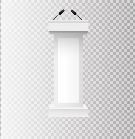 White Podium Tribune Rostrum Stands with Microphones on transparent background. Vector illustration EPS10