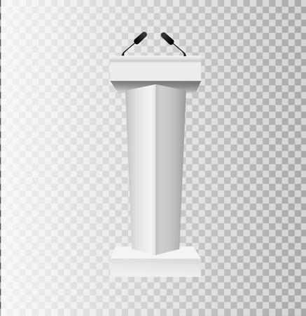 White Podium Tribune Rostrum Stands with Microphones on transparent background. Vector illustration EPS10